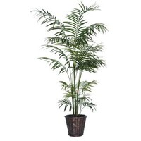 VCO 6' Potted Artificial Deluxe Tropical Palm Tree in Brown Pot Artificial Plants