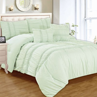 "Rebecca King Size Five Piece Smocked Comforter Set (106"" x 92"") - Aqua"