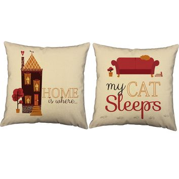 Where My Cat Sleeps Pet Lover Throw Pillows