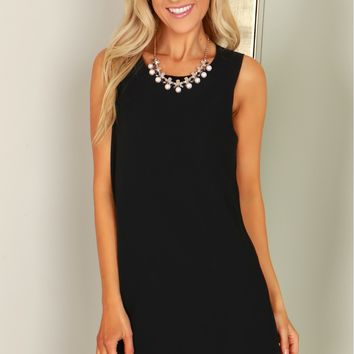 Classic Sleeveless Shift Dress Black
