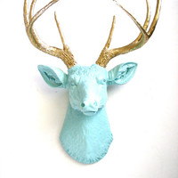 Faux Taxidermy Deer Head wall mount wall hanging home decor:  Deerman the Deer Head  in very light blue with gold antlers