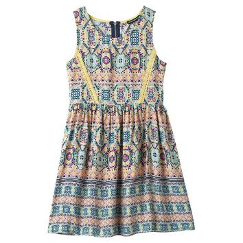 My Michelle Lace Detail Skater Dress - Girls