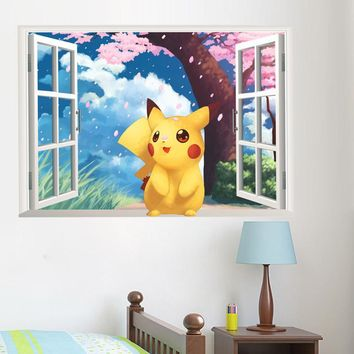popular game pikachu  go wall stickers for kids rooms bedroom cartoon window wall decals pvc diy postersKawaii Pokemon go  AT_89_9