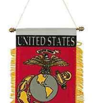 MARINE CORPS MINI BANNER CAR FLAG with BRASS STAFF & SUCTION CUP USMC MILITARY