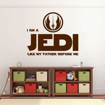 ik2201 Wall Decal Sticker I Am a Jedi Like My Father Before Me Star Wars room