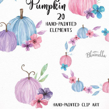 20 Watercolour Pretty Pumpkin Clipart - Pink Pastel Purple Fall Thanksgiving Painted INSTANT DOWNLOAD Fall Elements PNGs DIY Autumn Digital
