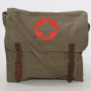 Silkscreened Red Cross Vintage Canvas Medic Bag in Olive Drab - Free Shipping