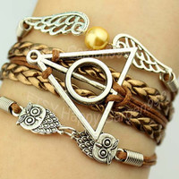 jewelry bracelet silvery harry potter bracelet lover owl bracelet  golden wings bracelet  rope bracelet best gift.-N1654