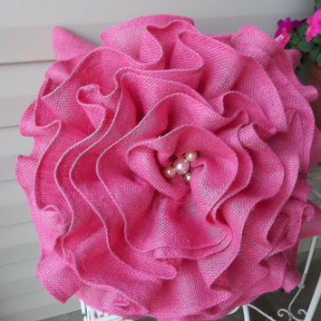 "18"" Shabby Hot Pink Burlap Ruffled Pillow, decorative pillow, accent pillow, cottage style pillow"