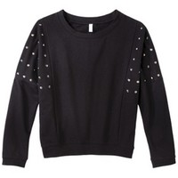 Xhilaration® Juniors 3/4 Sleeve Studded Sweatshirt - Black