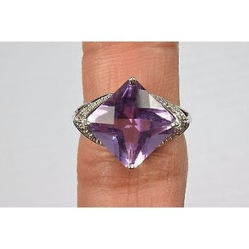 10k White Gold 5.16 ct Rare Amethyst & Diamond Cocktail Ring Square Size 7 SID
