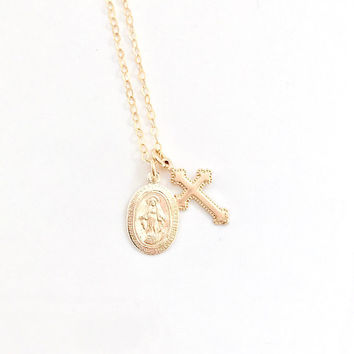 Gold Virgin Mary and tiny cross necklace, Gold Cross Necklace, Medallion, Baptism, Confirmation, Religious Jewelry, Miraculous Medal