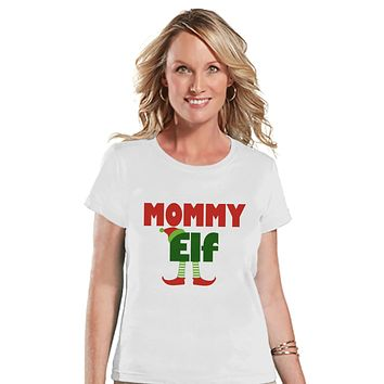 Mommy Elf Shirt - Christmas T-Shirt - Ladies Holiday Top - Winter Tee - White T Shirt - Santa Pictures - Family Shirts - Family Outfits