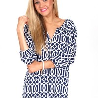 Home By The Sea Navy And White Tunic | Monday Dress Boutique