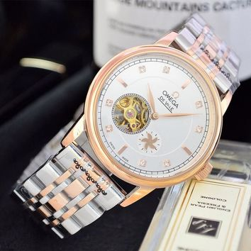 HCXX O049 Omega 25 Jewels Swiss Made Fashion Simple Steel Strap Watches Rose Gold White