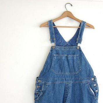 90s Jean Bib Overalls // distressed Carpenter Pants // Jeans. Bibs. women's size XL