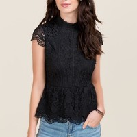 Tora Mock Neck Lace Peplum Top