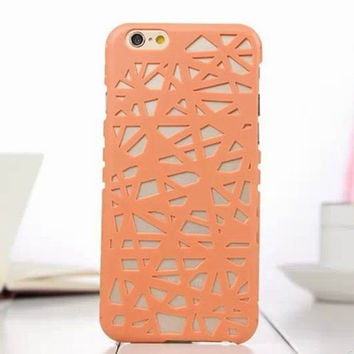 Orange Candy Color Hollow Out Bird's Nest Phone Back Cover Case Shell For iPhone 4s 5 5s SE 6 6s