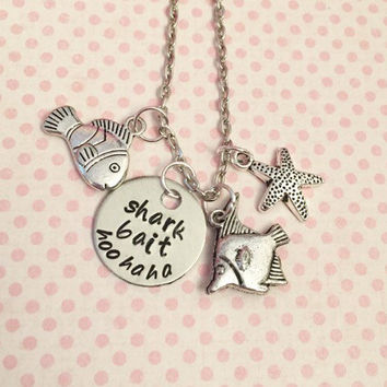 Shark Bait Hoo Ha Ha Necklace - Fairytale Jewelry - Once Upon A Time Jewelry - Finding Nemo Inspired Jewelry - Just Keep Swimming Jewelry