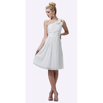 Off White One Shoulder Chiffon Knee Length Bridesmaid Dress