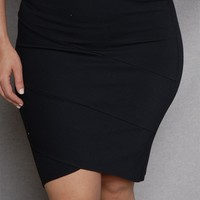 2B Clothing Plus-Size High-Waist Tulip Hem Mini Skirt - Black