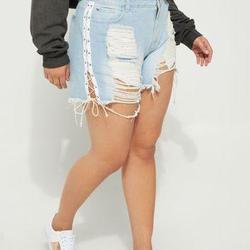 Plus Light Blue High Waist Ripped Lace Up Jean Shortie