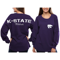 Kansas State Wildcats Women's Pom Pom Jersey Oversized Long Sleeve T-Shirt - Purple