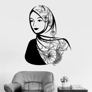 Vinyl Wall Decal Arabic Beautiful Woman Headscarf Muslim Islam Stickers Unique Gift (ig3621)