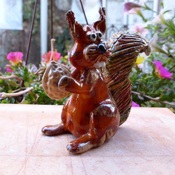 Orange Squirrel with walnut, Squirrel figurine,  red squirrel, pet squirrel, woodland animal, handmade squirrel,  gift ideas, totemfantasy