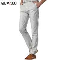 Plus size cargo pants 2017 new high-quality breathable men's casual linen pants Fashion Slim iron Trousers Bright colors Gray