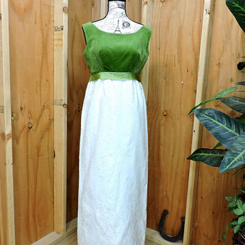 Vintage 60s velvet brocade dress / size M / 9 / 10 / 1960s Nadine long prom / formal dress / emerald green and cream maxi dress /