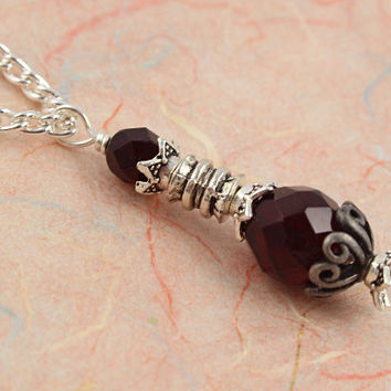 Potion Vial Pendant - Life Blood - Dark Ruby