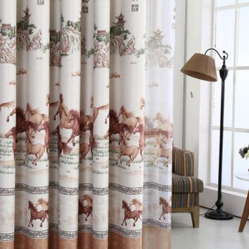 Traditional Asian-Inspired Antique Horse Custom Curtains and Drape Set