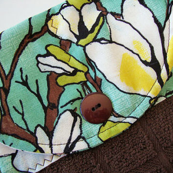 Button-Top Kitchen Towel - Hanging Dish Towel - Turquoise Floral on Brown Towel - Custom Towels - Quilted Hanging Kitchen Towel