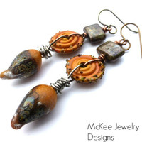 Dragon eggs. Glass lampwork, Czech glass, wire wrapped earrings. Metal and glass work jewelry.