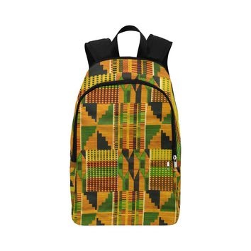 Mustard Kente Cloth Fabric Backpack for Adult (Model 1659)