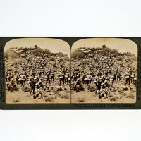 Underwood Stereoview Infantry Storming a Hill, Boer War South Africa, 1900