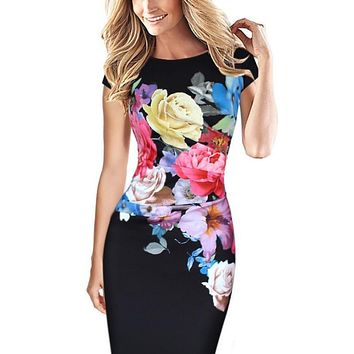 Women Elegant Flower Floral Printed Ruched Cap Sleeve Ruffle Casual bridesmaid Mother of Bride Evening Party Dress