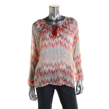 Love Sam Womens Chiffon Beaded Blouse