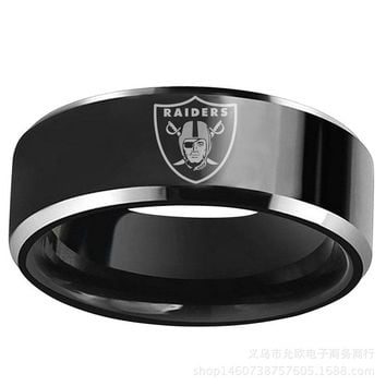 Fashion Band ring Oakland Raider logo Stainless Steel Rings For men Finger Jewelry