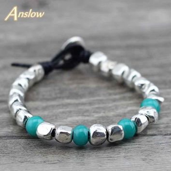 Anslow New Top Quality Charm Bijoux Unisex Cuff Wrap Rope Lucky Genuine Leather Bracelet Father's Day Gift LOW0576LB