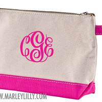 Monogrammed Natural and Hot Pink Make-Up Bag | Travel Bags | Marley Lilly