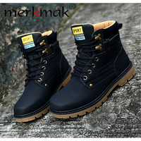 Mermak 2016 Unisex Autumn Shoes Fashion Super Warm Casual Leather Boot Men And Women Outdoor Waterproof Martin Boots Flats Boots
