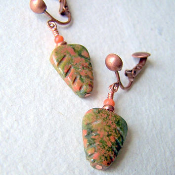 Unakite Leaves Earrings - clip on earrings - leaf earrings - non pierced earrings - Leaf Jewelry- stone earrings - Autumn Fashion