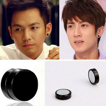 2sets Anium Steel Mens Women Trendy Round Magnetic Clip Black