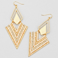 White Chevron Earrings
