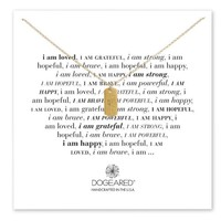 Dogeared I Am Strong Small Dog Tag Necklace, Gold Dipped