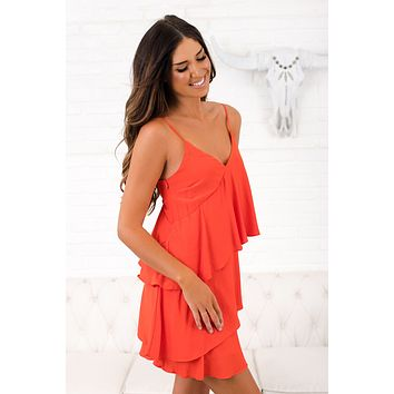 Start Again Ruffle Dress (Orange)