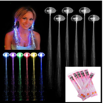 Rave Halloween Decoration 6 Pcs Light-up Fiber Led Hair Color wig Lights Rave for halloween christmas Party led Accessories