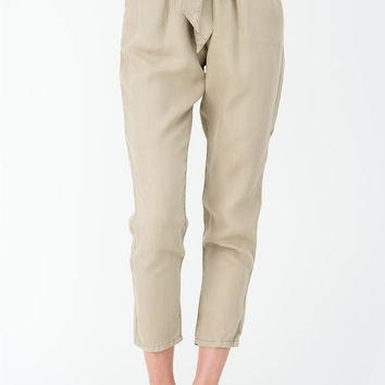 Flynn Tencel Tie Pants in Khaki